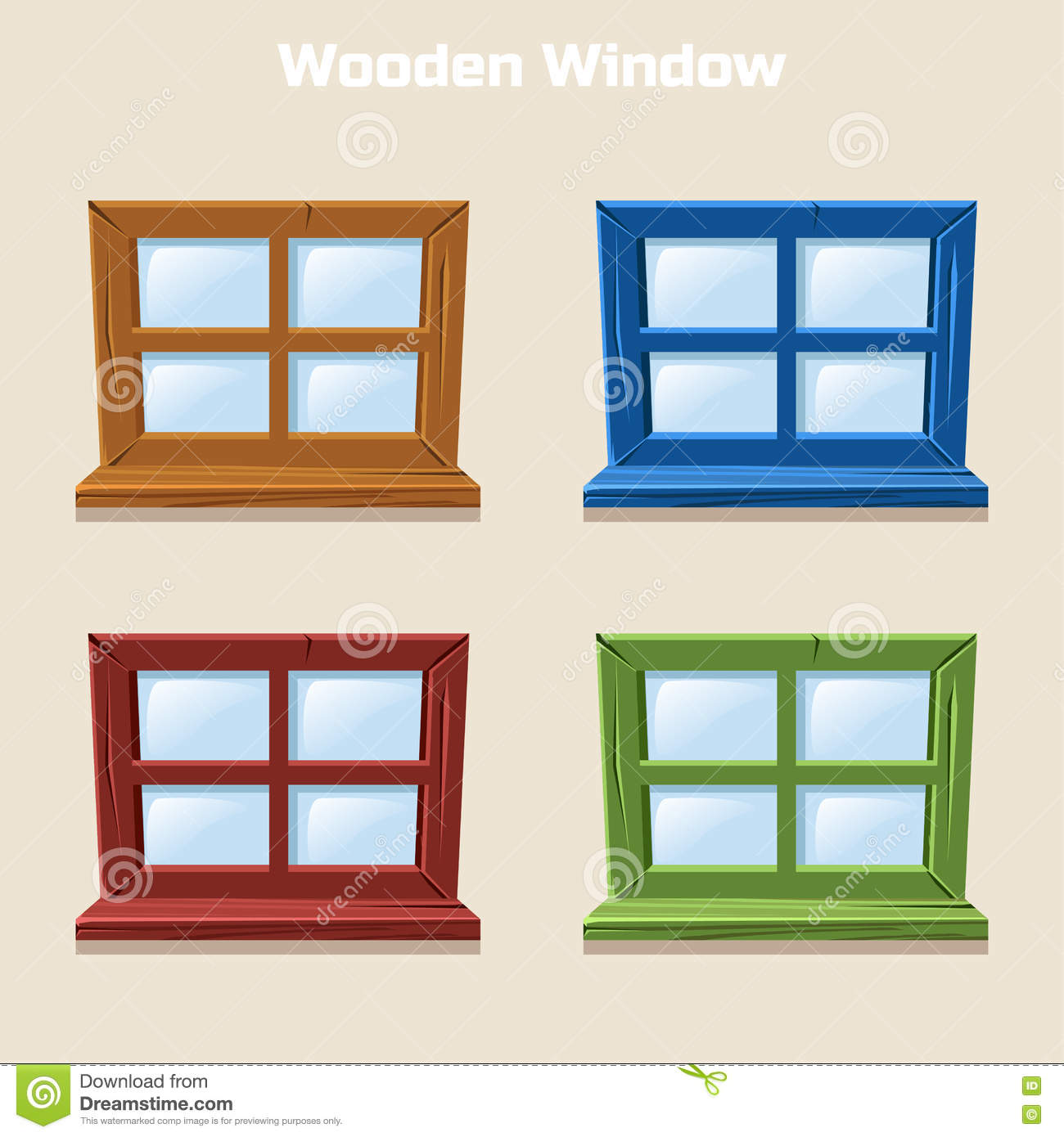 Animated House Windows : Cartoon wooden colorful window stock vector image