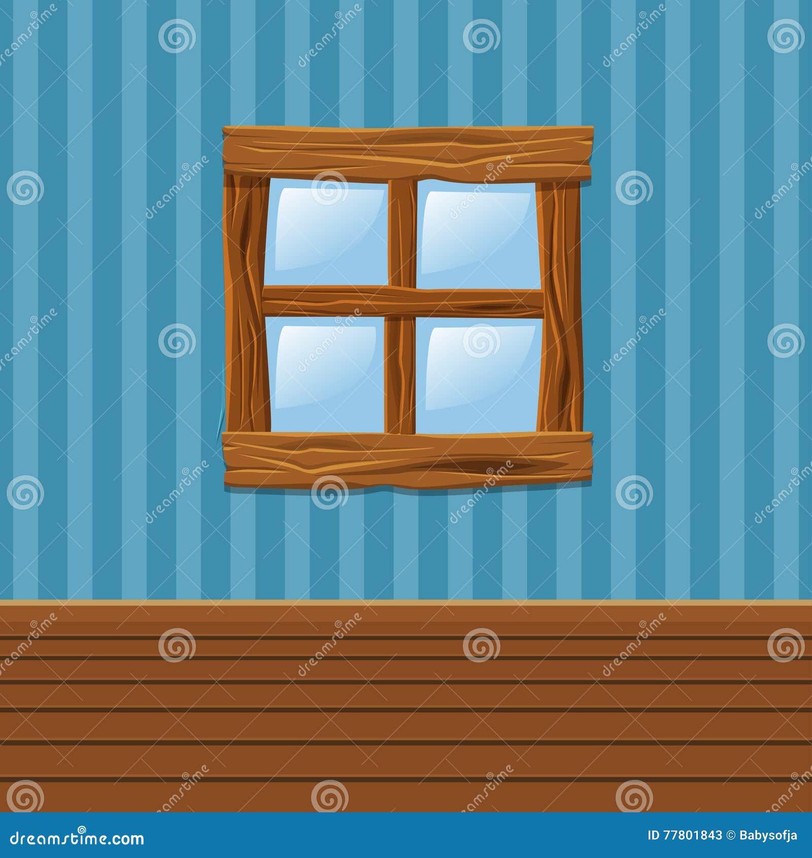 Interior wooden shelves free vector - Cartoon Wooden Old Window Home Interior