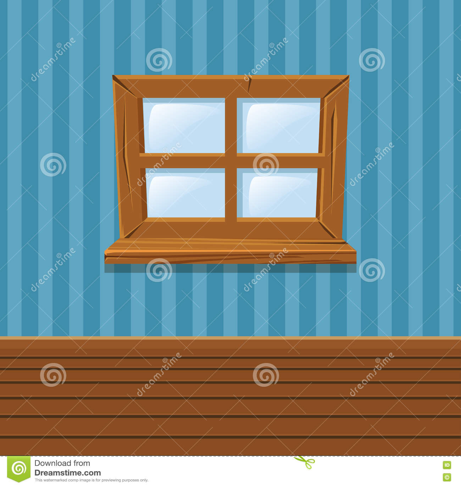 Interior wooden shelves free vector - Cartoon Wooden Window Home Interior