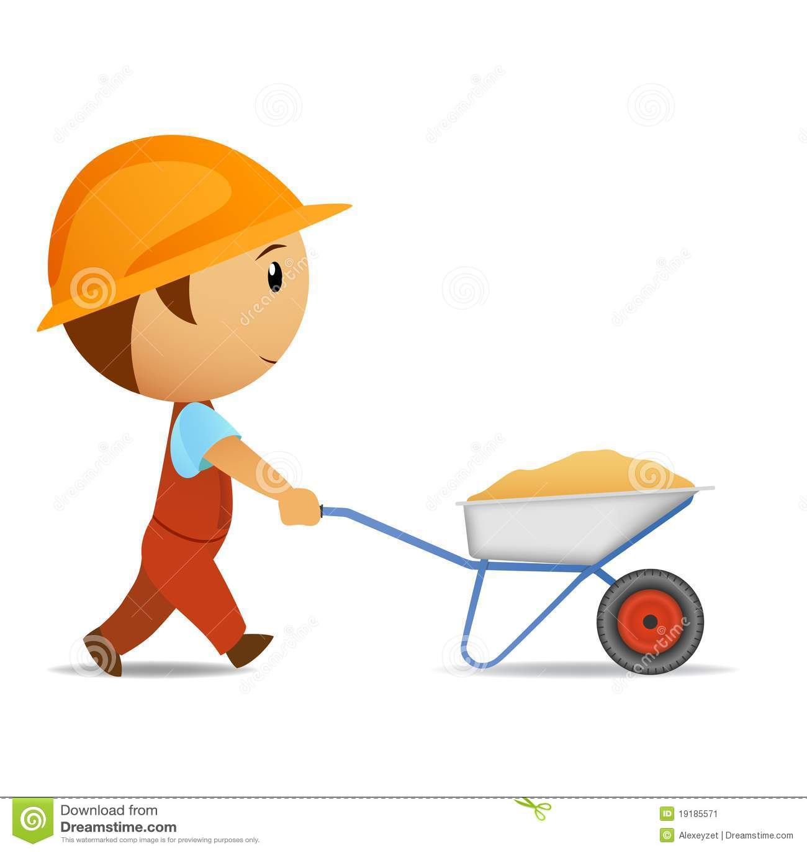 Cartoon Worker With Wheelbarrow Stock Image