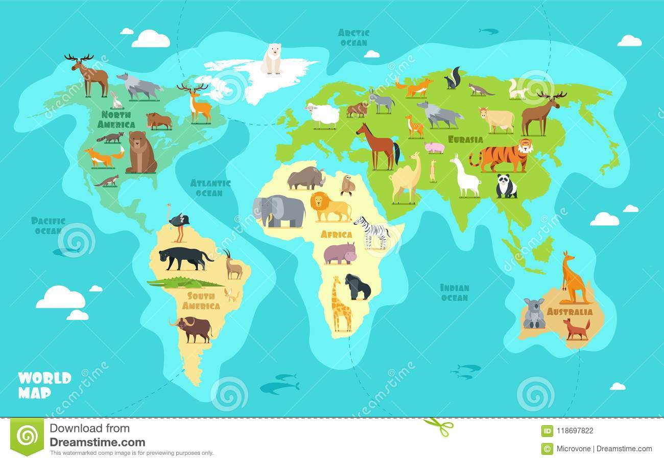 Download Cartoon World Map With Animals Oceans And Continents Funny Geography For Kids Education