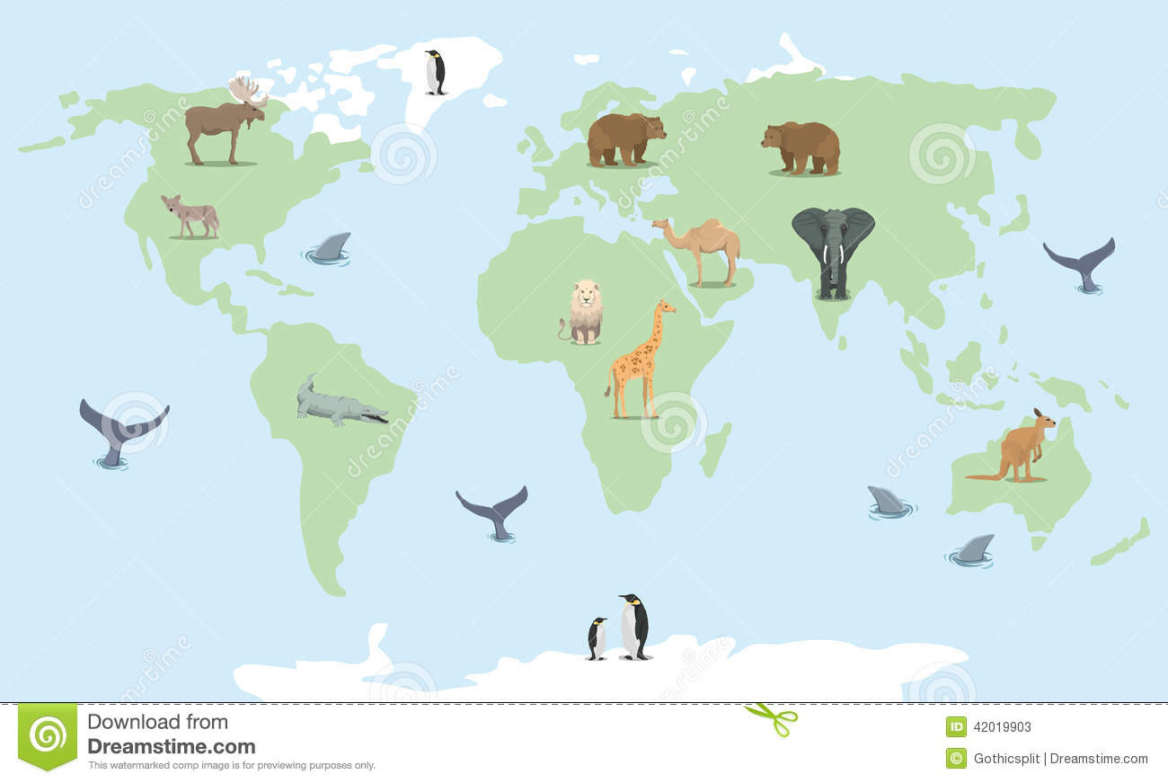 Animals World Map. Colorful Cartoon Vector Illustration For Children ...
