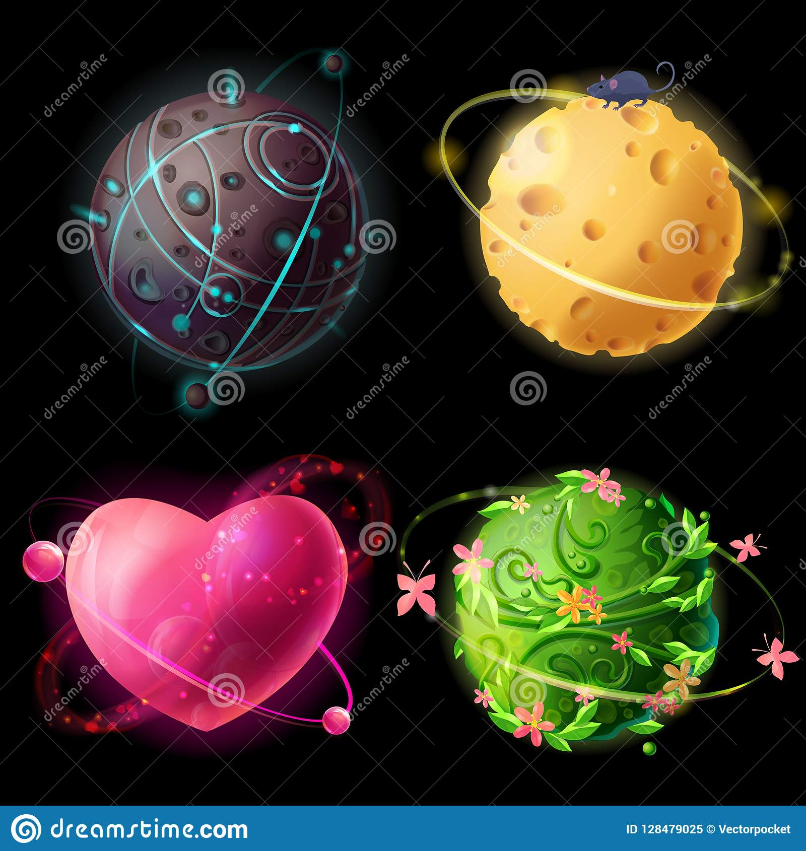 Fantastic Cosmic Aliene Elements For Game Design Extraterrestrial Cheese Love Plants Planets Il Ration Galaxies Set Concept For Gui Ui
