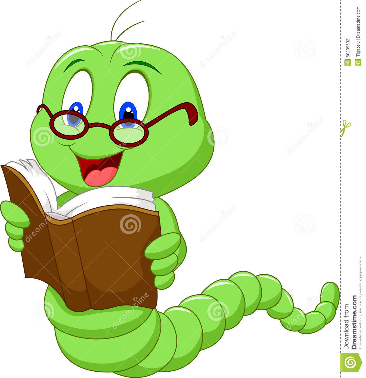 Cartoon Worm Reading Book Stock Vector - Image: 50839602