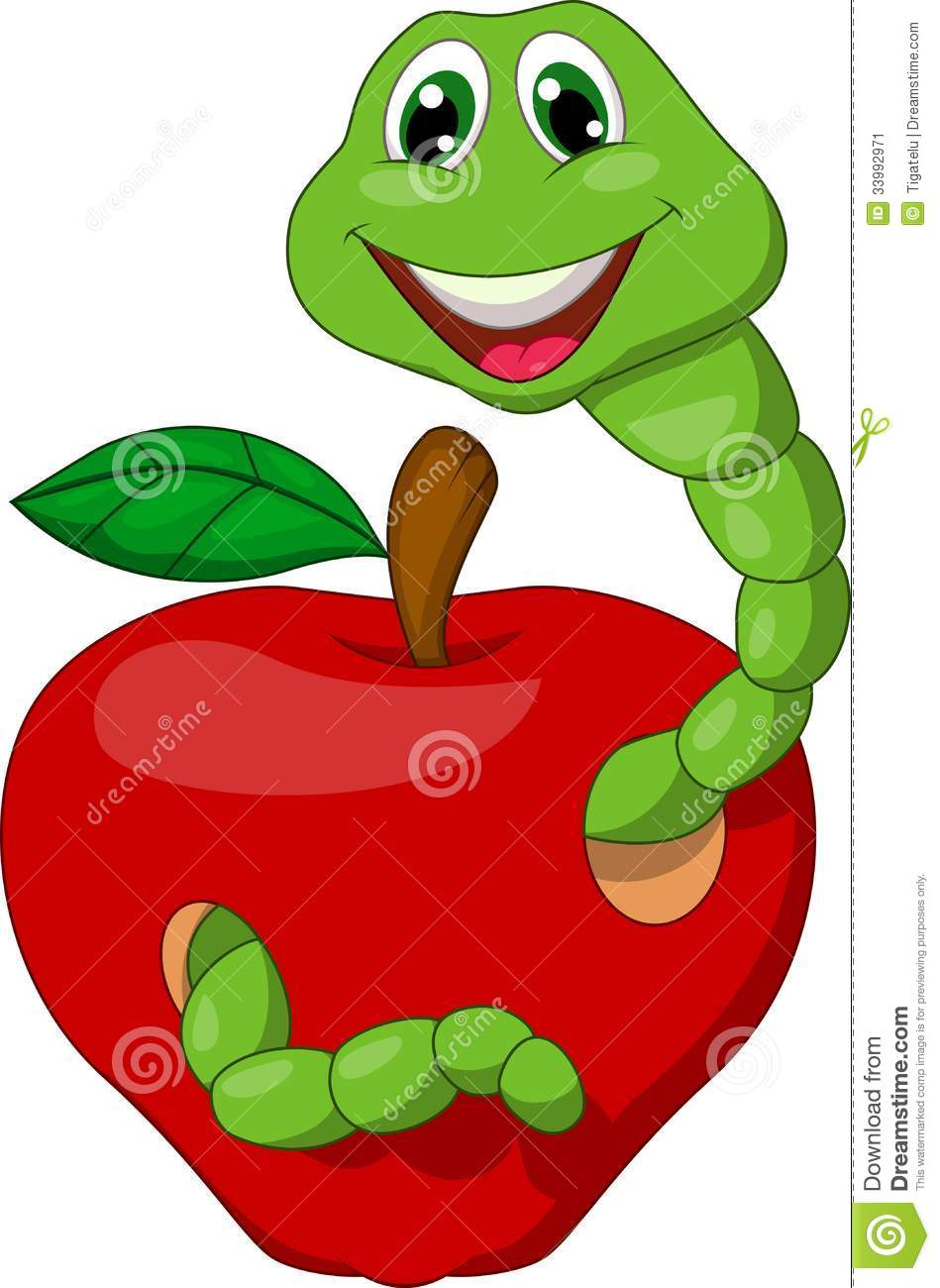 cartoon worm with red apple stock image image 33992971