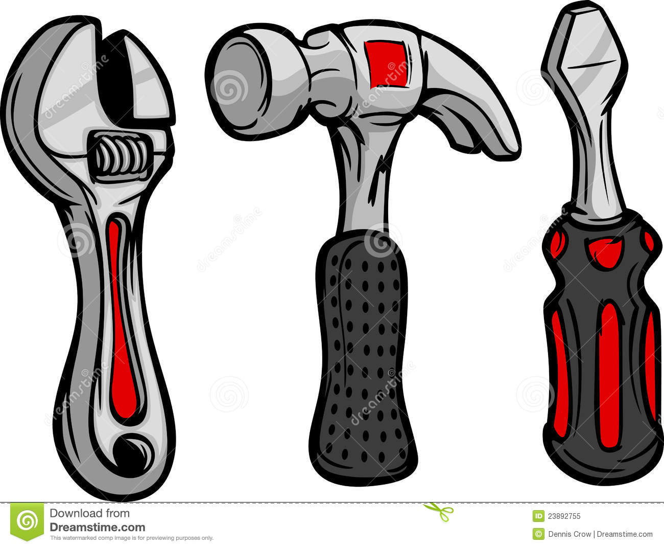 Cartoon Wrench Hammer And Driver Stock Vector Illustration Of