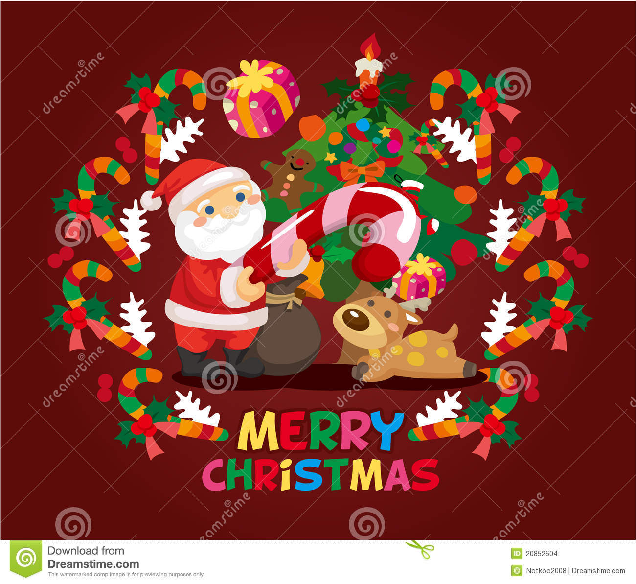 Cartoon xmas card stock vector. Illustration of cartoon - 20852604