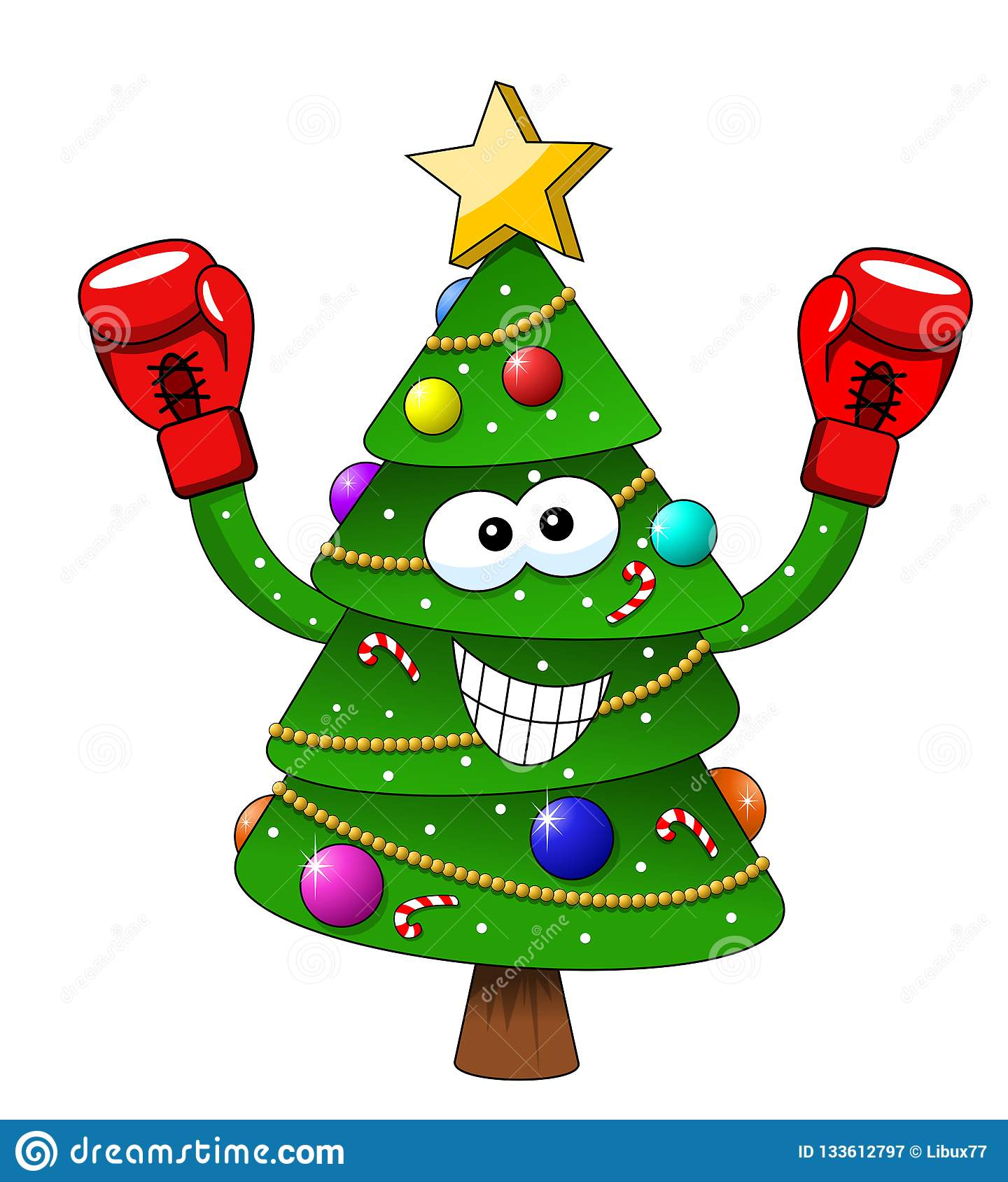 Cartoon Xmas Christmas Tree Boxer Boxing Gloves Isolated ...