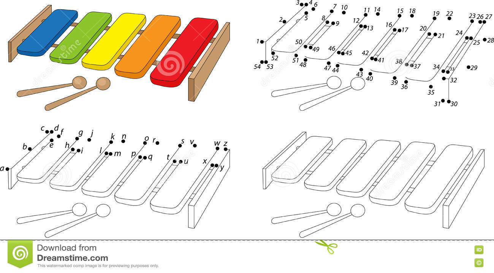 Royalty Free Vector Download Cartoon Xylophone Coloring Book