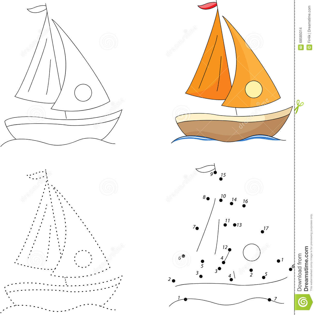 cartoon yacht dot to dot game for kids stock vector image 68585014