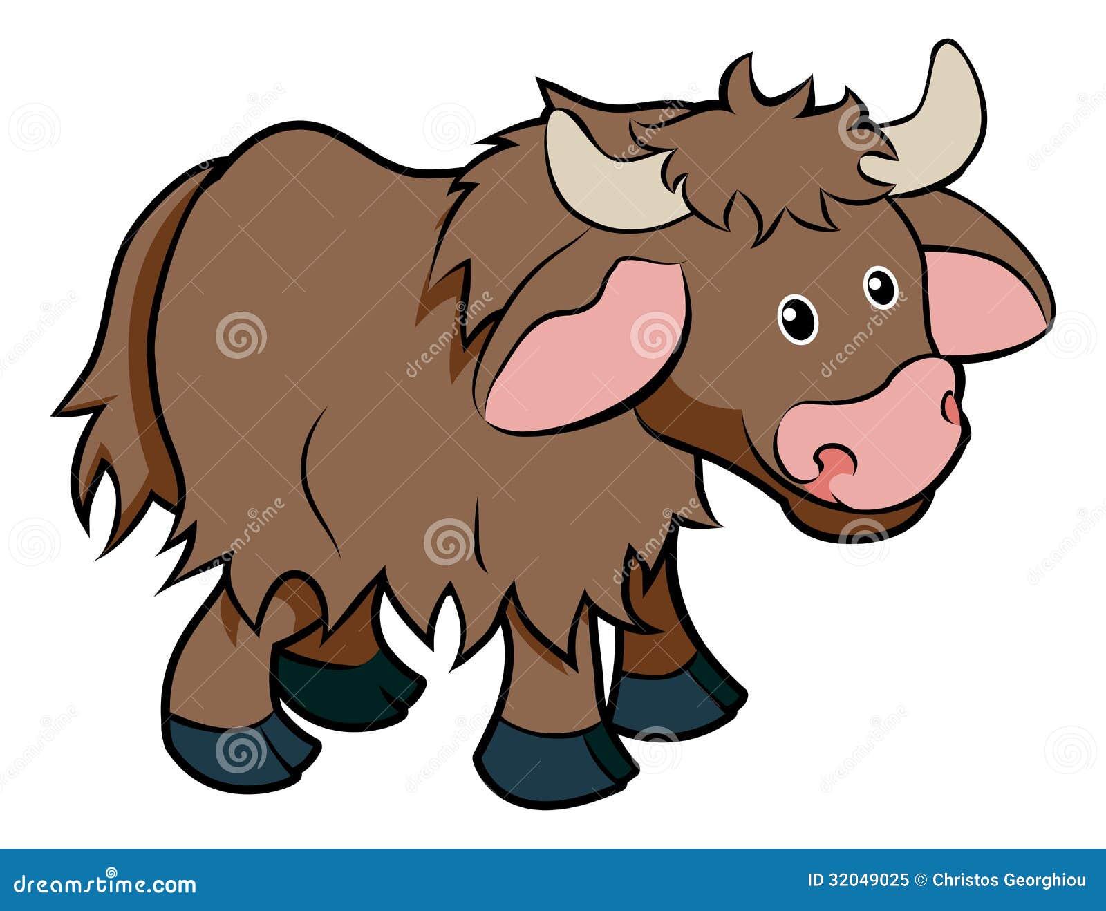 An illustration of a cute happy cartoon hairy Yak animal character.