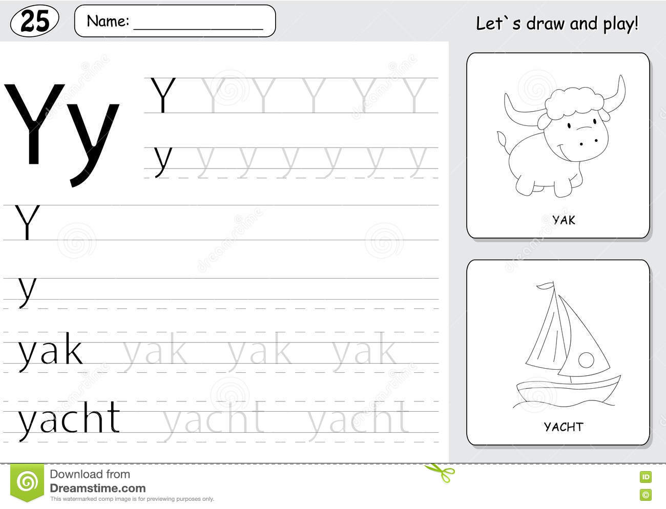 Cartoon Yak And Yacht Alphabet Tracing Worksheet Writing AZ A – Alphabet Tracing Worksheets A-z