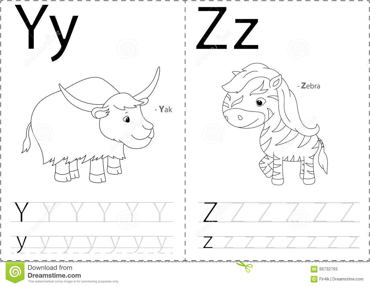 Cartoon yak and zebra alphabet tracing worksheet writing a z a royalty free vector robcynllc Images