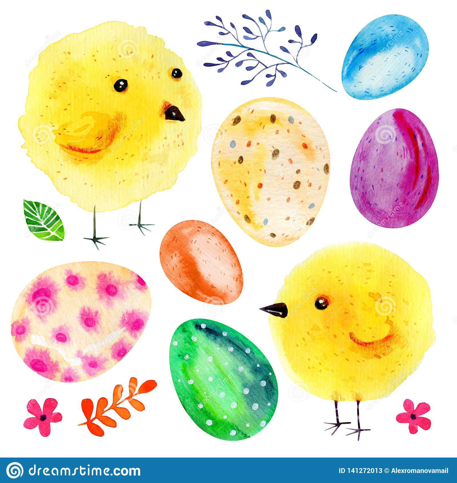 Cartoon yellow baby chikens, Easter eggs and flowers. Hand drawn watercolor illustration set