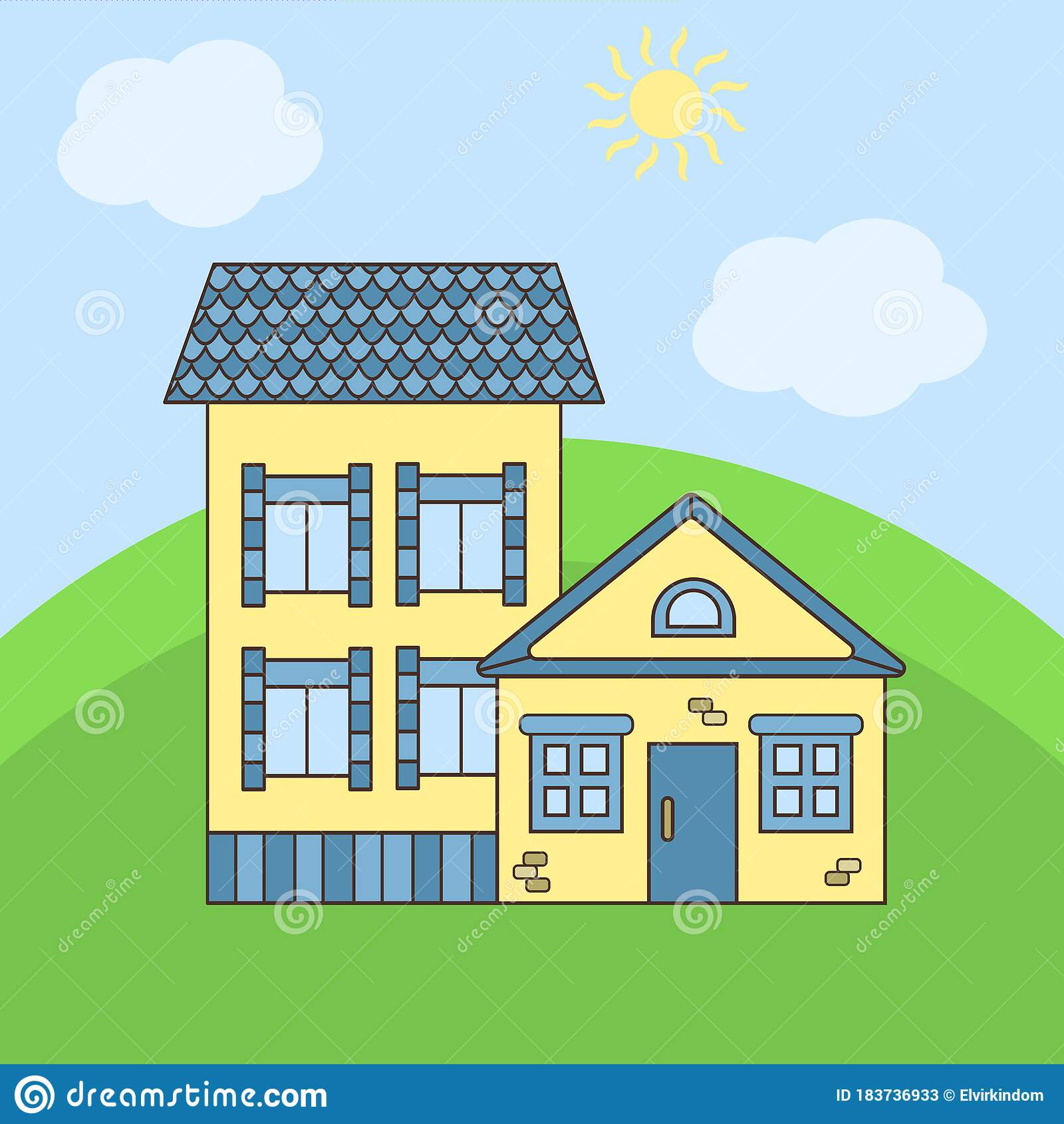 Cartoon Yellow House With A Blue Roof Stock Vector Illustration Of Design Grass 183736933