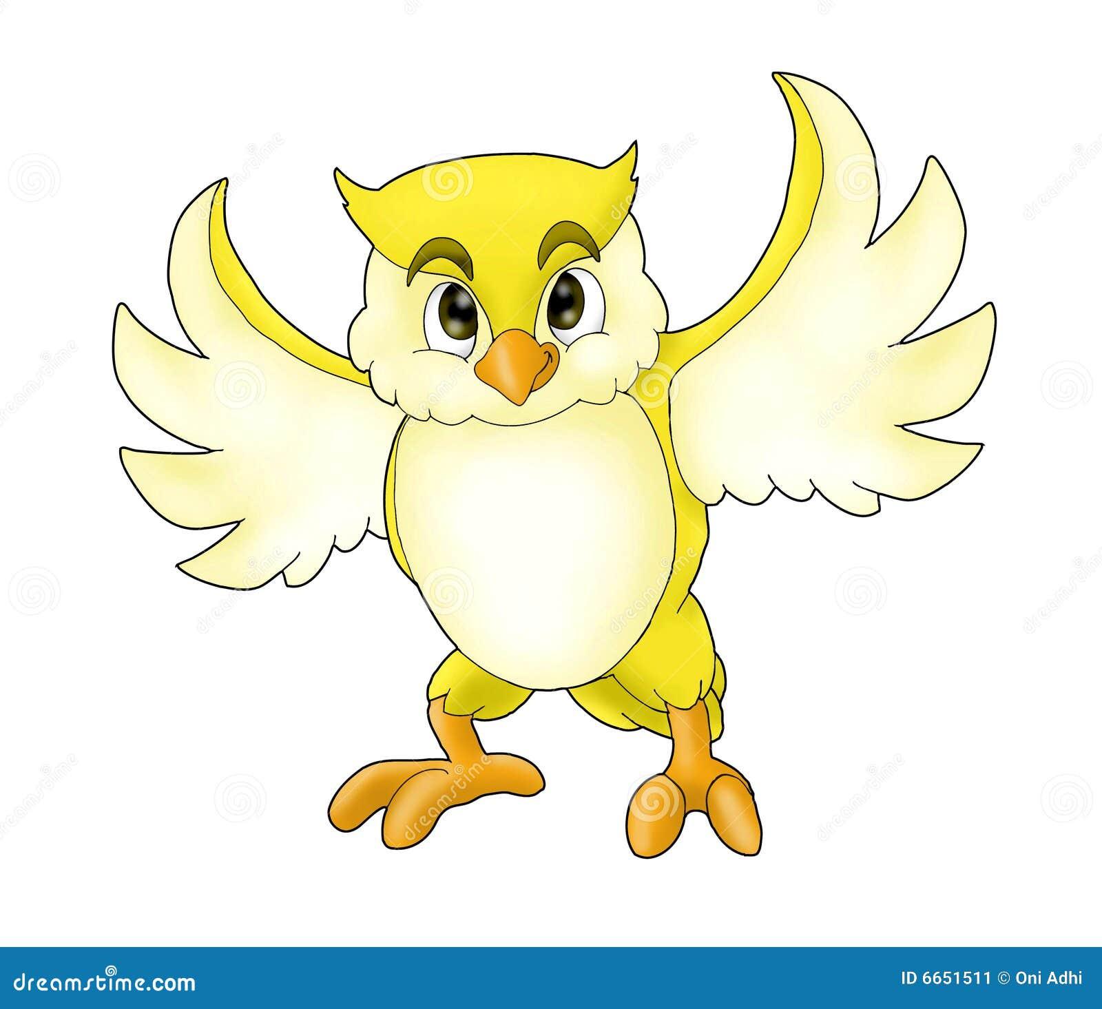 Cartoon Yellow Owl Stock Image - Image: 6651511