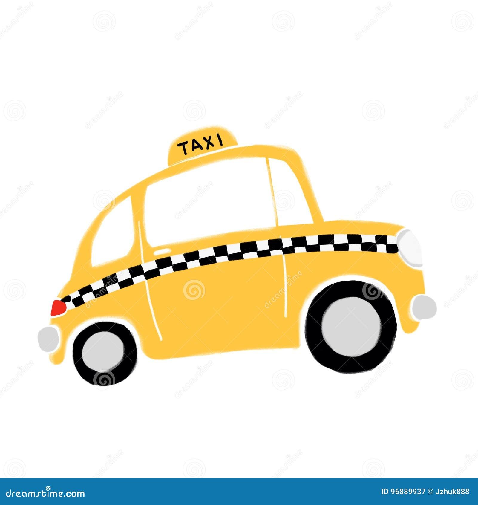Yellow cab, New York, drawing, artist Gerhard Kraus ... |Yellow Taxi Cab Drawing