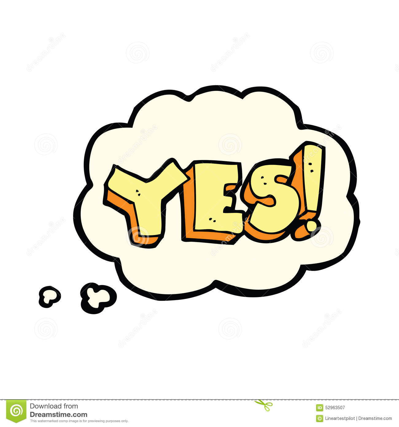 Cartoon Yes Symbol With Thought Bubble Stock Illustration