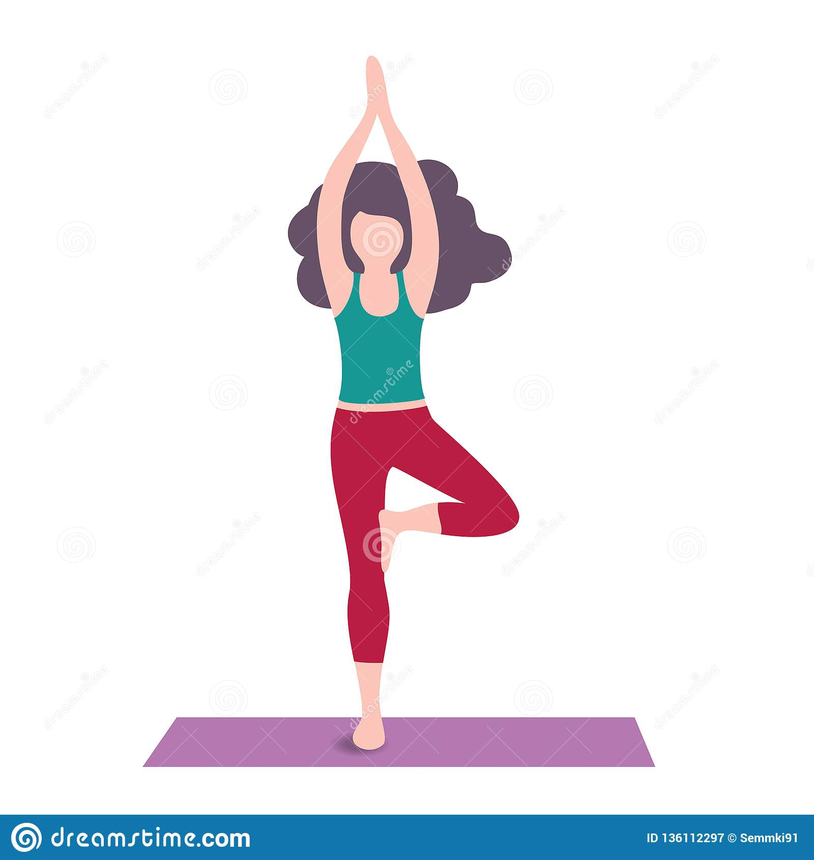 Cartoon Yoga Girls Young Women In Asanas Poses Fitness Character Stock Illustration Illustration Of Color Health 136112297
