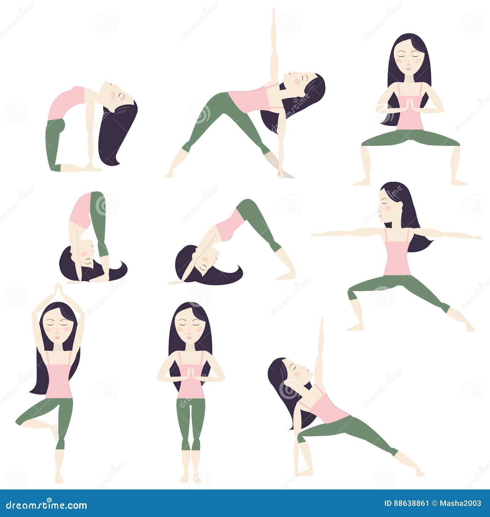 Cartoon Yoga Poses Stock Vector Illustration Of Black 88638861