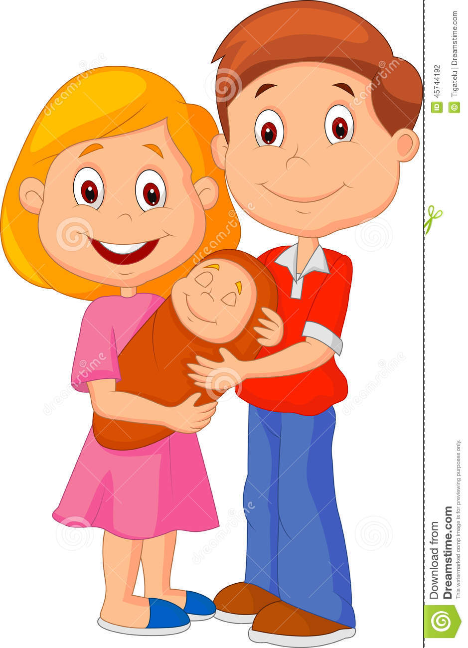 Cartoon Young Adult Couple Tenderly Embracing Their Baby ...