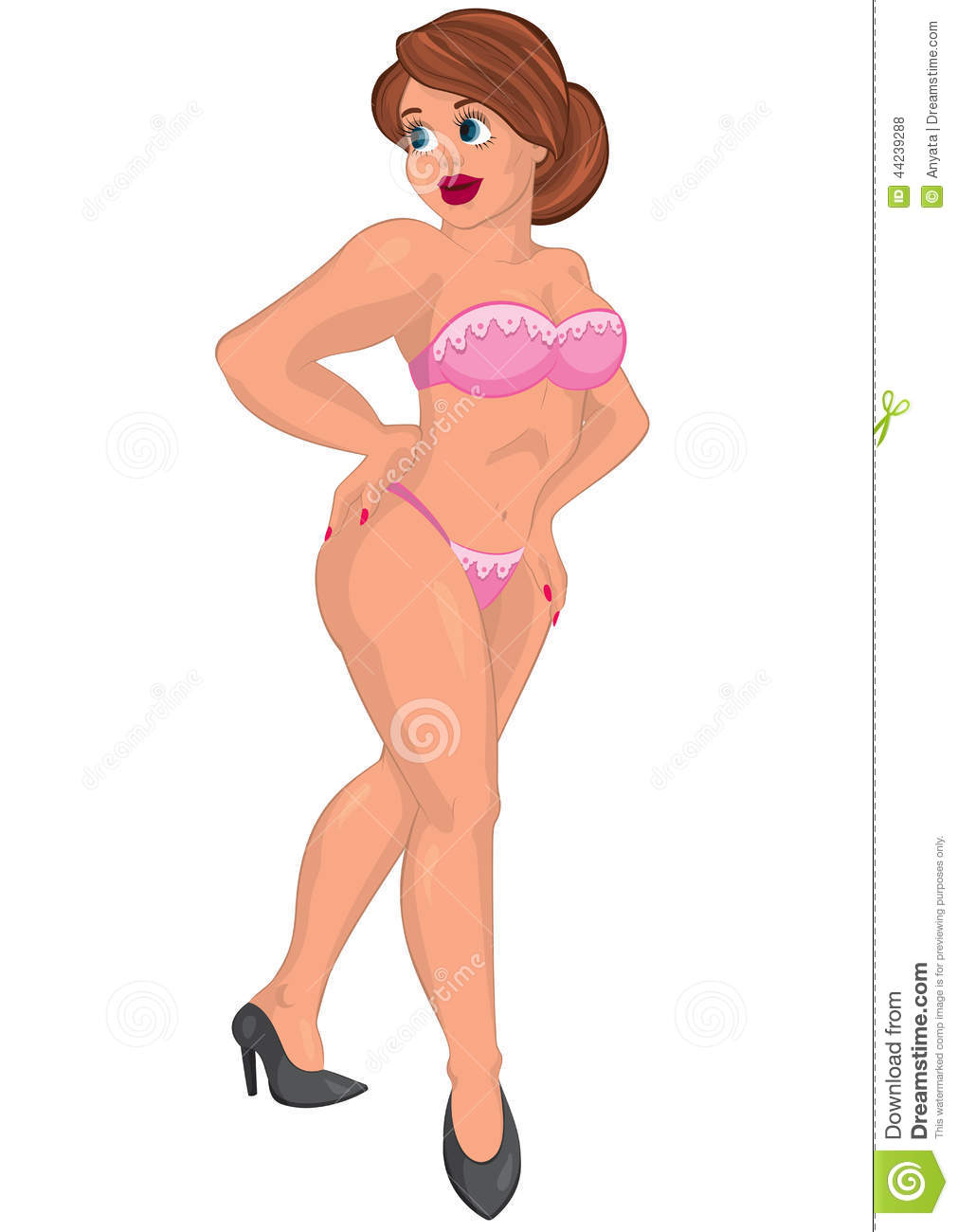 Cartoon Young Woman In Pink Underwear Stock Vector ...