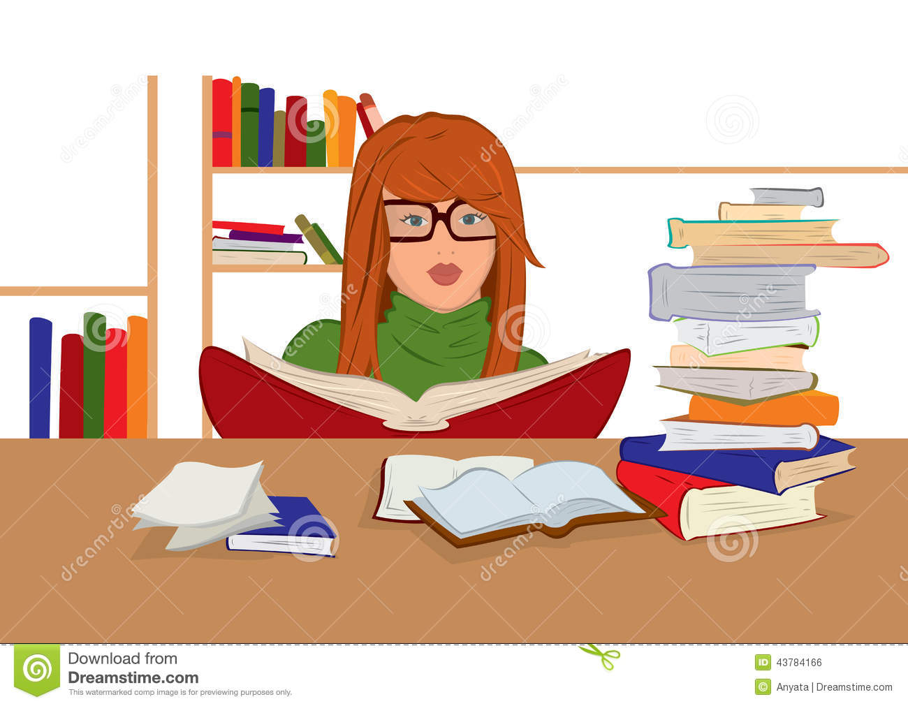 Cartoon Characters Reader : Cartoon young woman in glasses sitting and reading books
