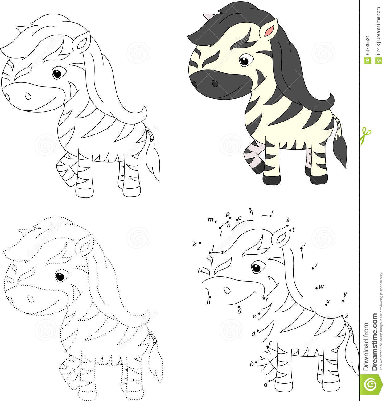 Cartoon Zebra. Coloring Book And Dot To Dot Game For Kids Stock Vector ...