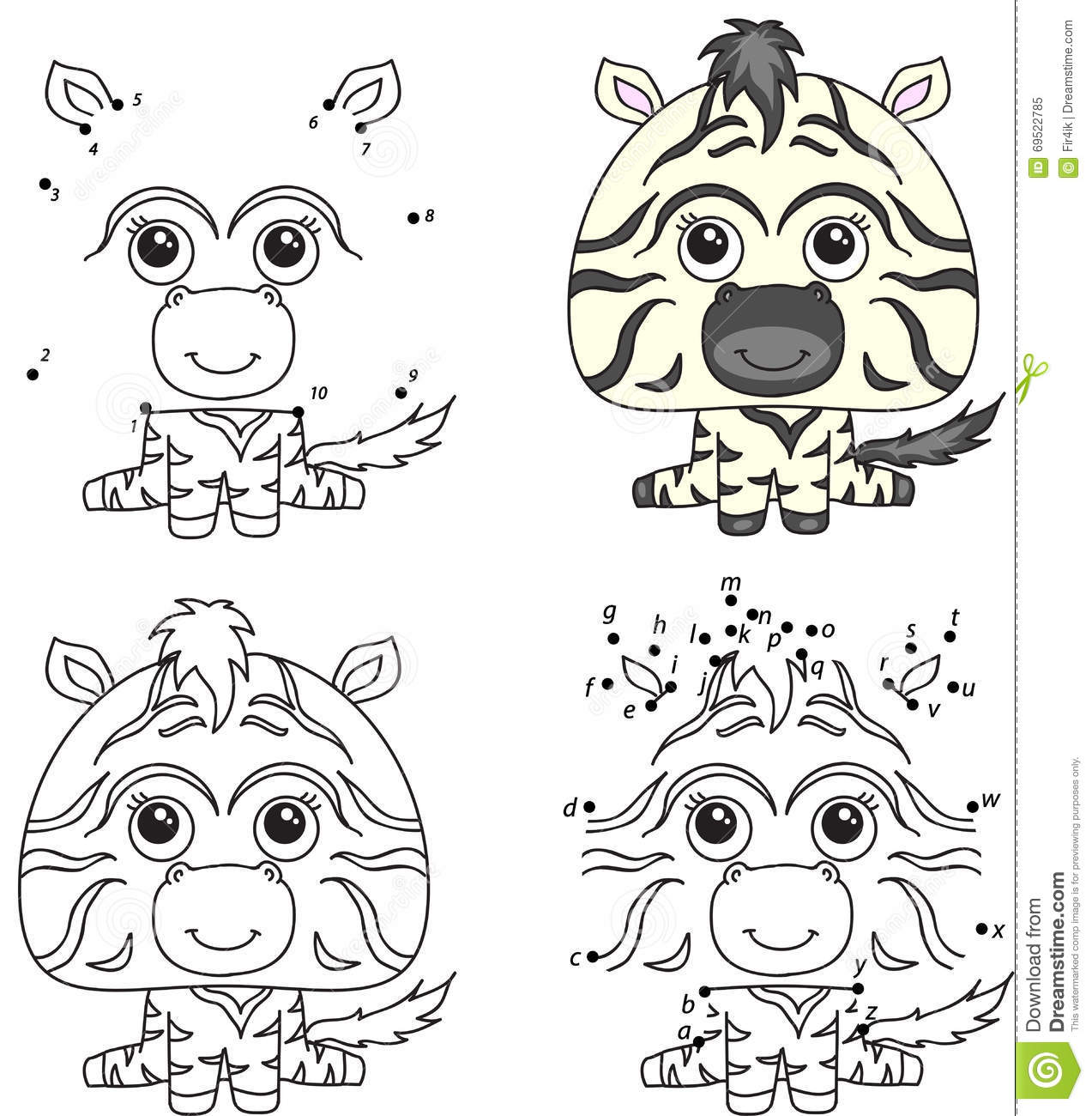 Cartoon Zebra. Coloring Book And Dot To Dot Game For Kids ...