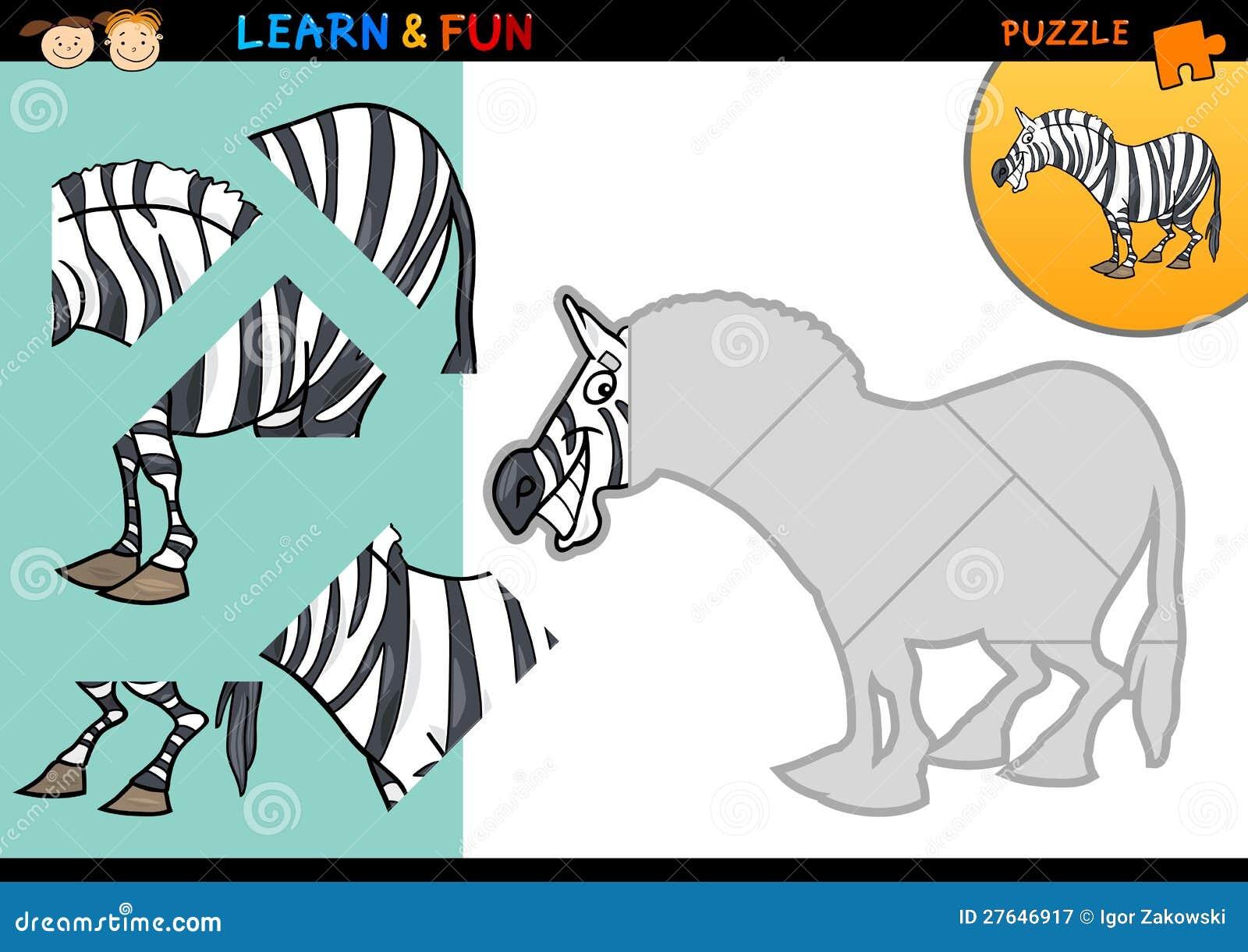 Cartoon Zebra Puzzle Game Royalty Free Stock Photography - Image ...