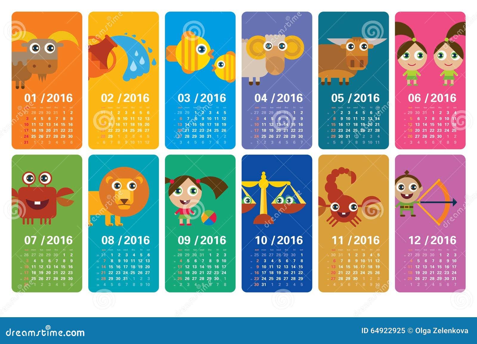 Cartoon Zodiac - Calendar 2016 Stock Illustration - Image ...