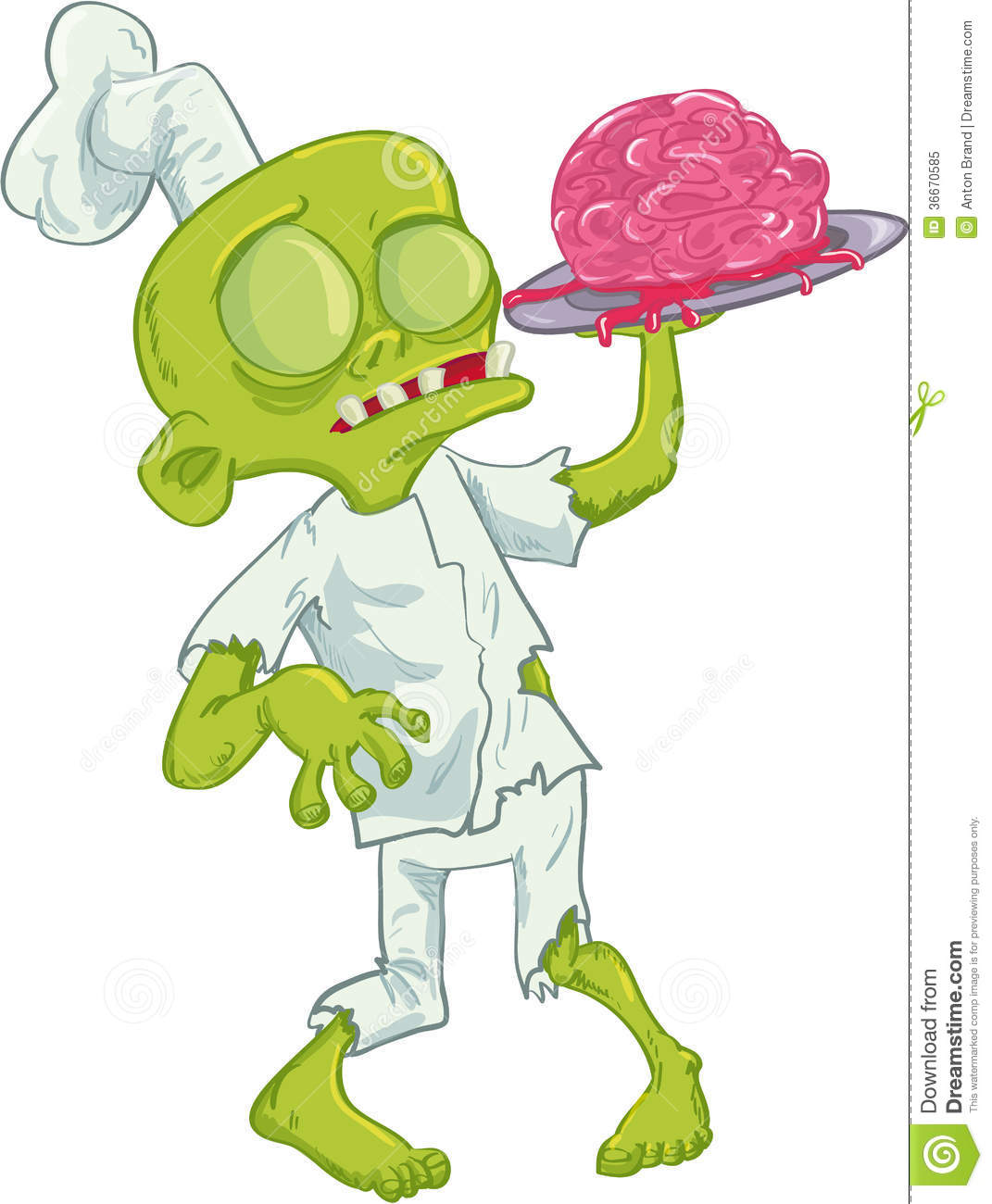 Cartoon Zombie Chef Serving A Brain Royalty Free Stock Photo - Image ...