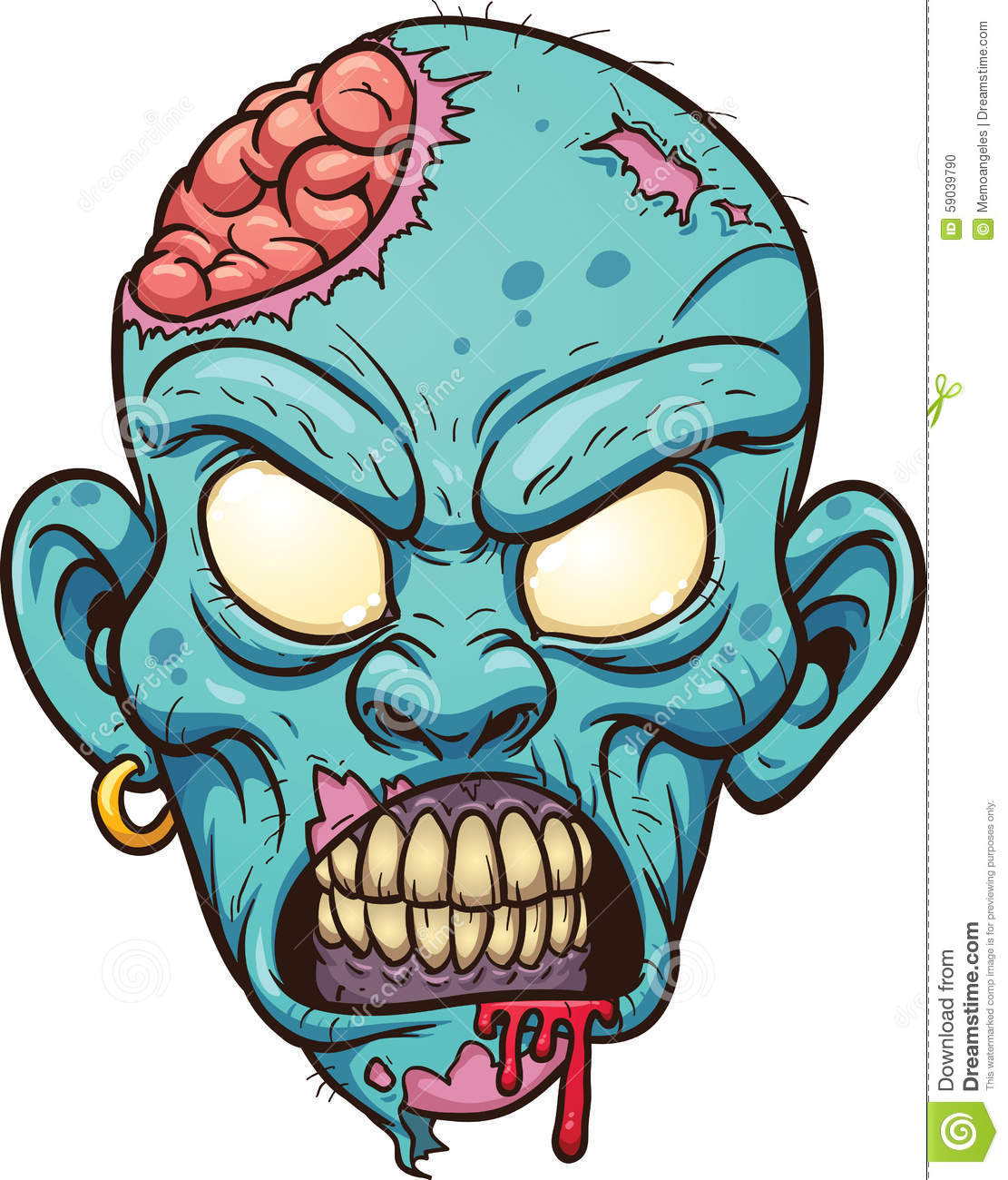 Cartoon zombie head stock vector. Illustration of ...
