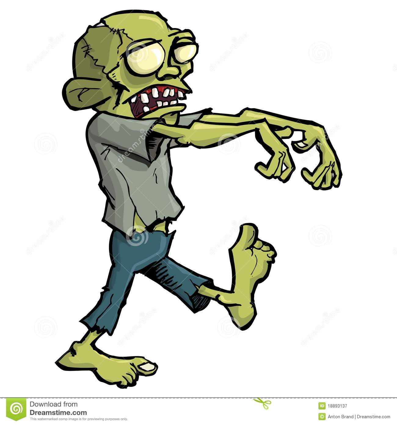 Cartoon zombie isolated on white. He is lurching with his arms out ...
