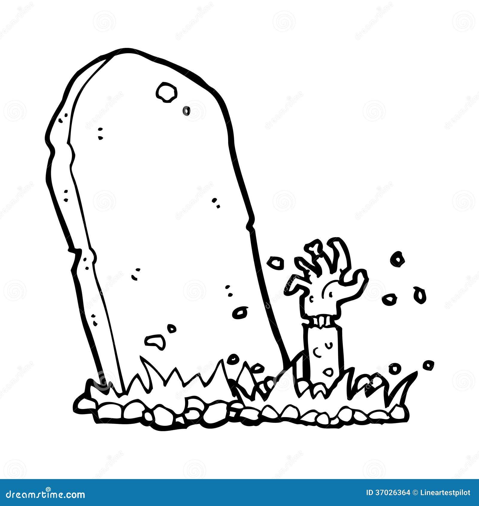 Cartoon Zombie Rising From Grave Stock Illustration Illustration