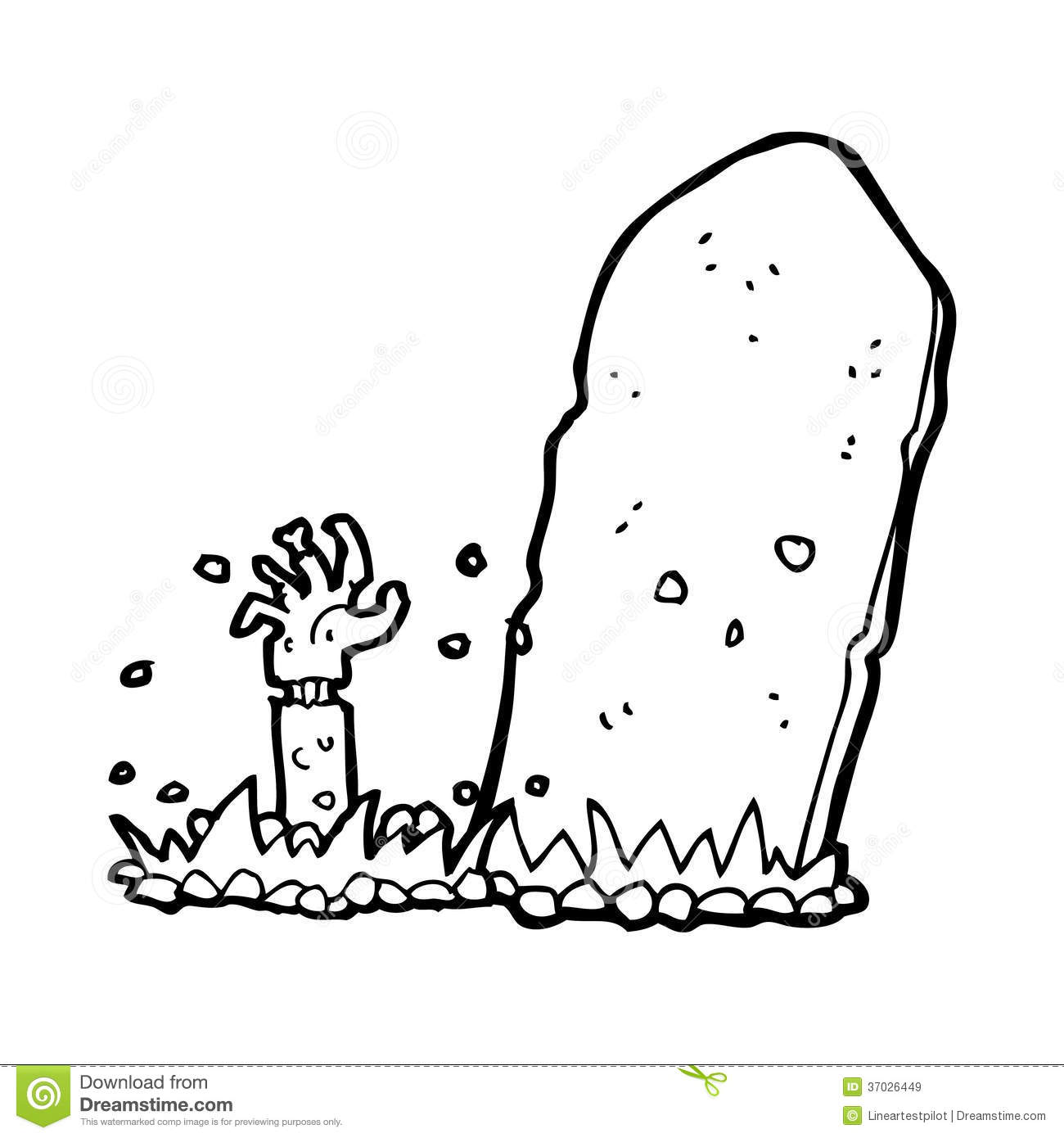 Cartoon Zombie Rising From Grave Stock Illustration ...