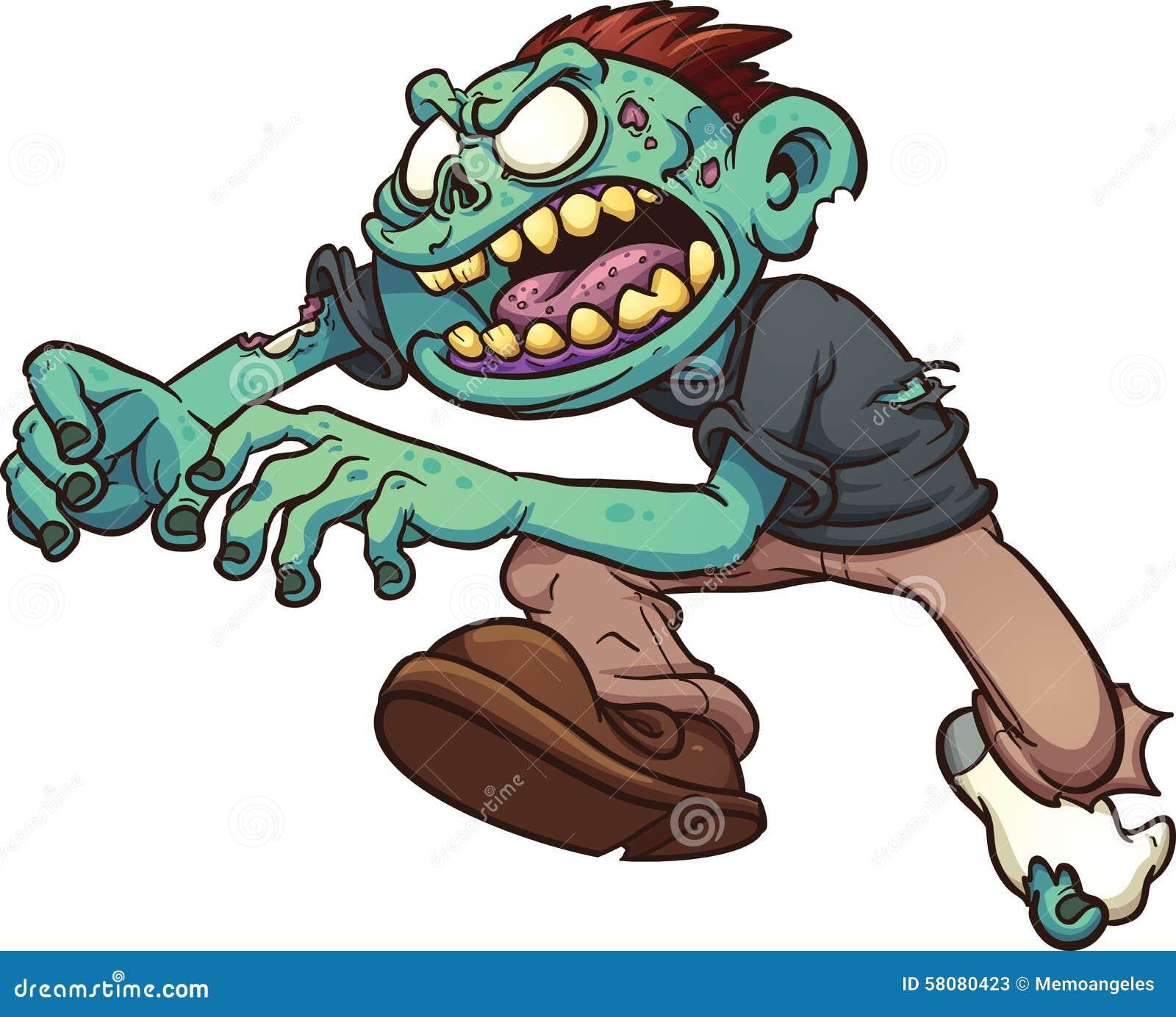 Cartoon zombie running stock illustration cartoondealer