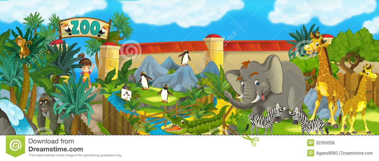 Royalty Free Stock Photos: Cartoon zoo - amusement park - illustration ...