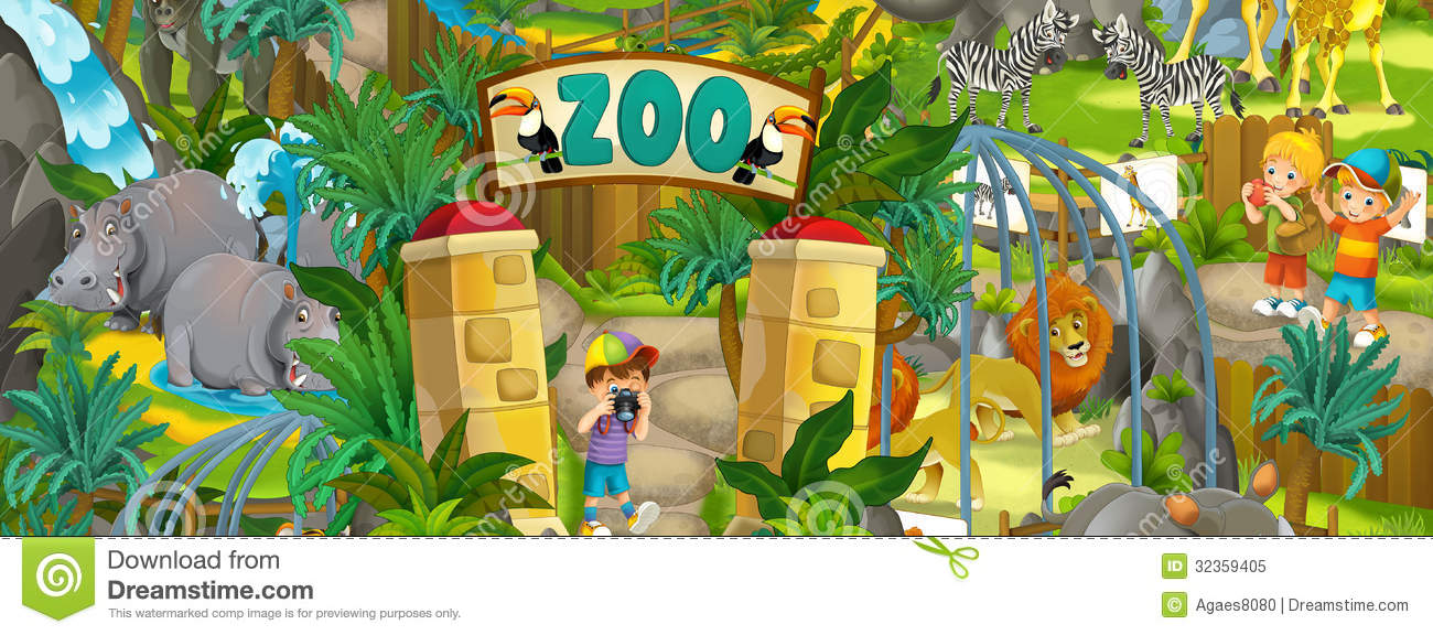 Cartoon Zoo - Amusement Park - Illustration For The Children Royalty ...