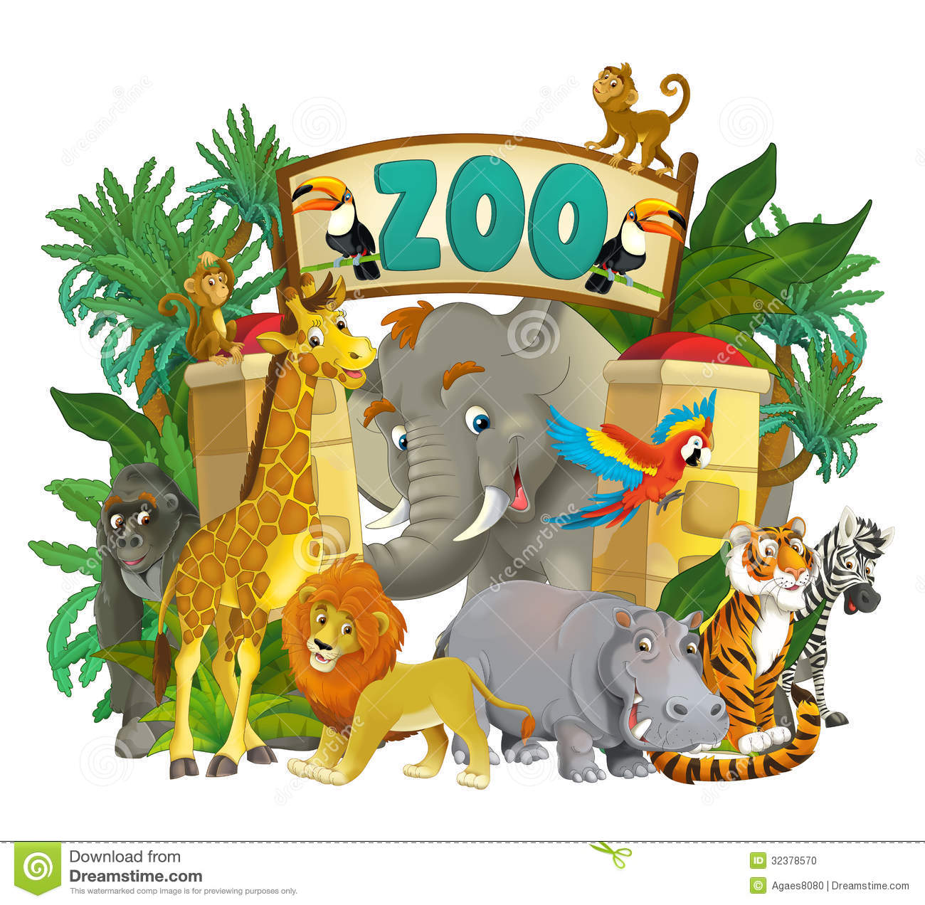 Cartoon Zoo - Amusement Park - Illustration For The Children Stock ...