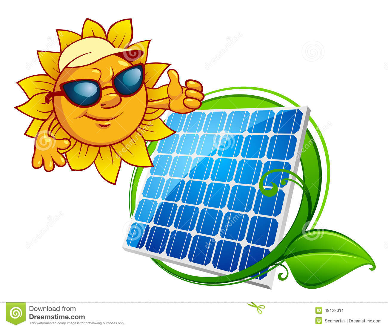 Solar energy panel bordered green stem with leaves and smiling sun in ...