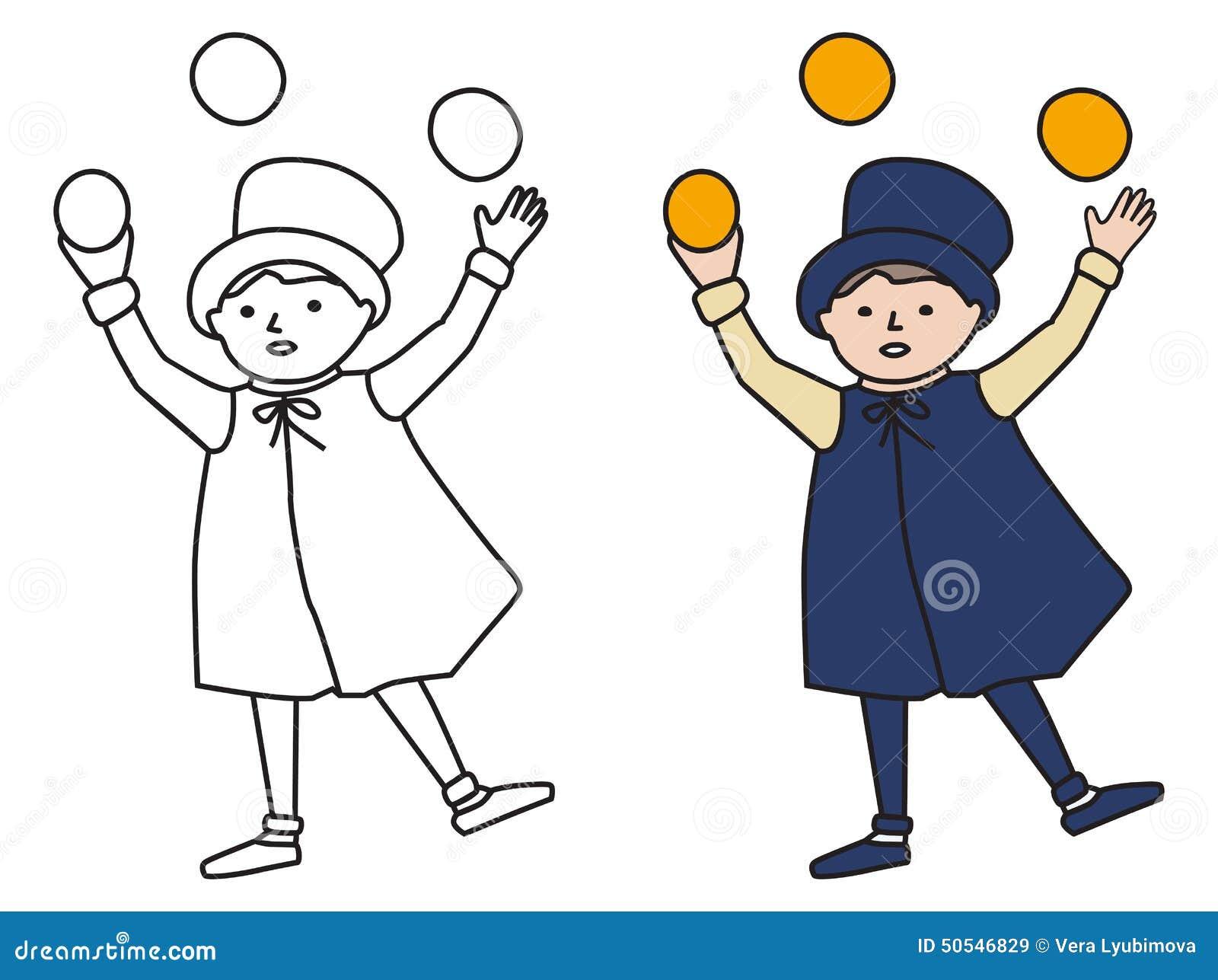 Cartooned Grafisch van Juggler Boy met Malplaatje