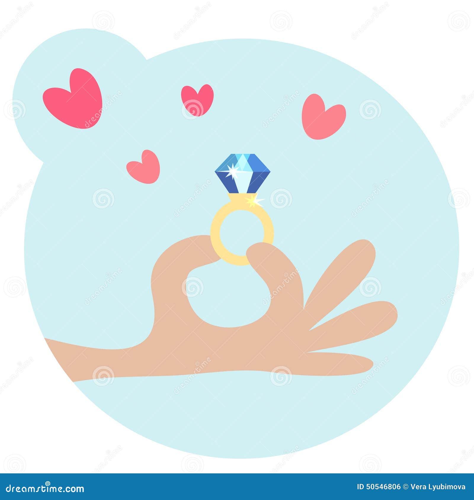 Cartooned Menselijke Hand die een Ring met Diamant houden