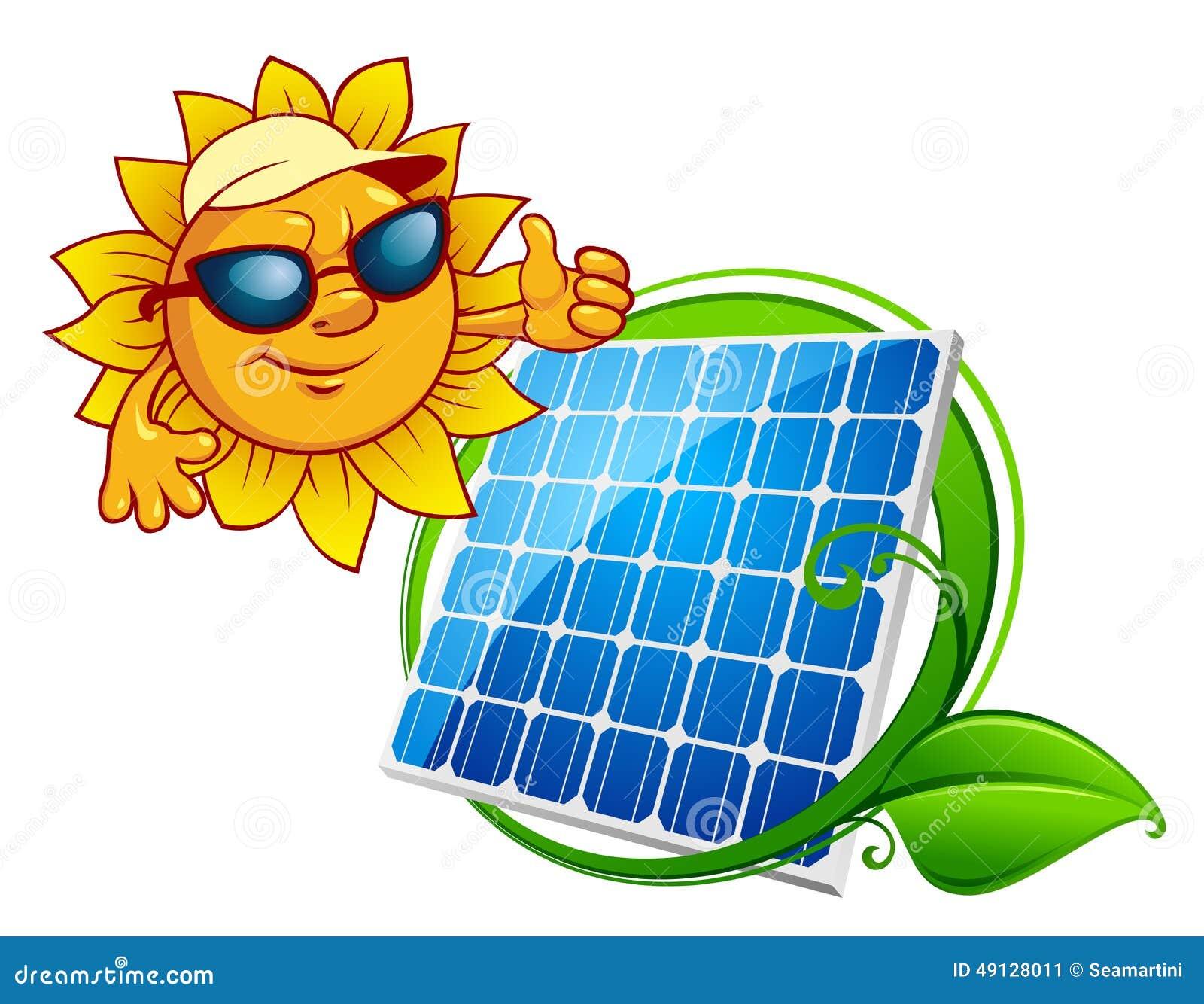 Cartooned vrolijke zon met blauw zonnepaneel