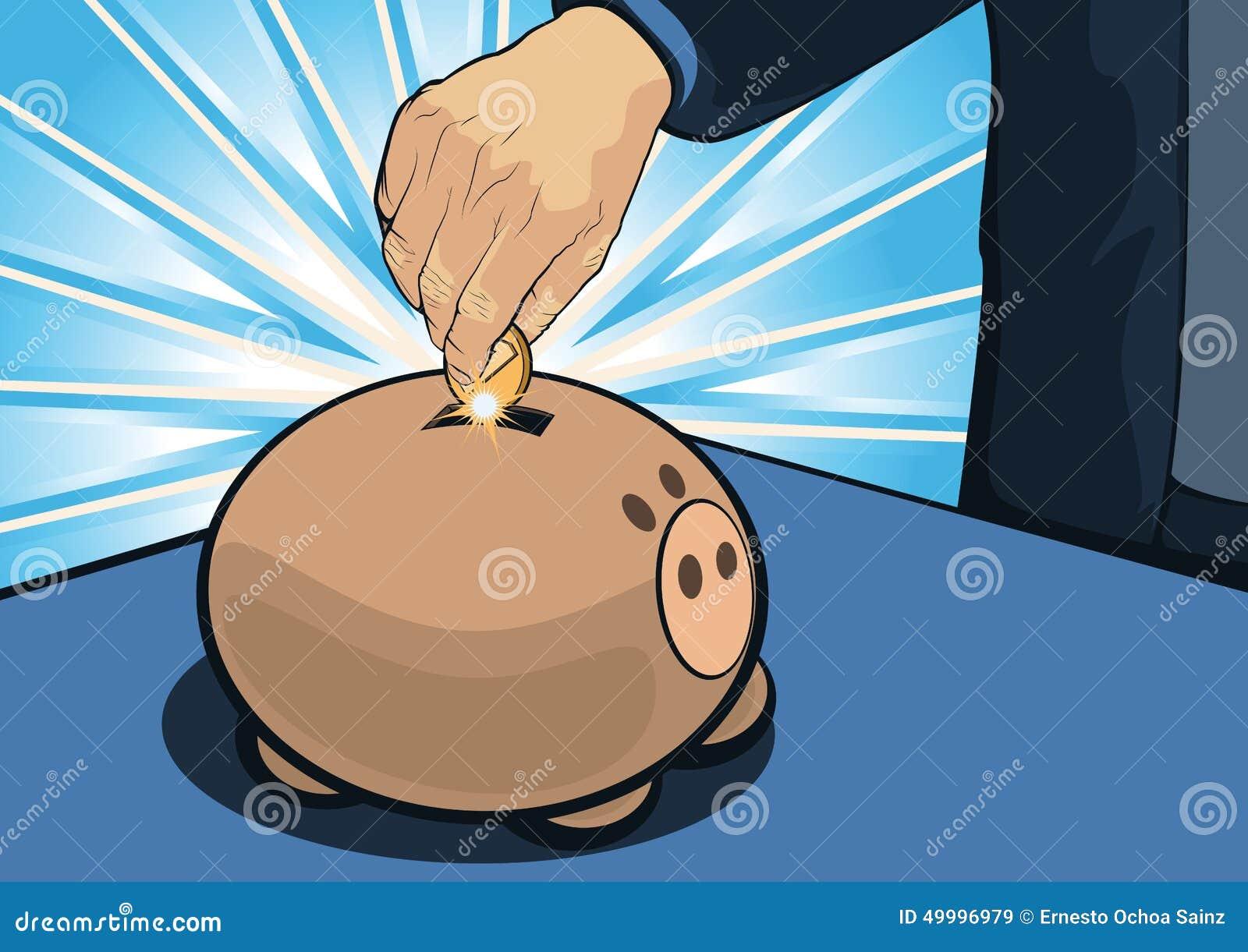 Cartoonedhand die Muntstuk binnen Spaarvarken zetten; Besparingsconcept