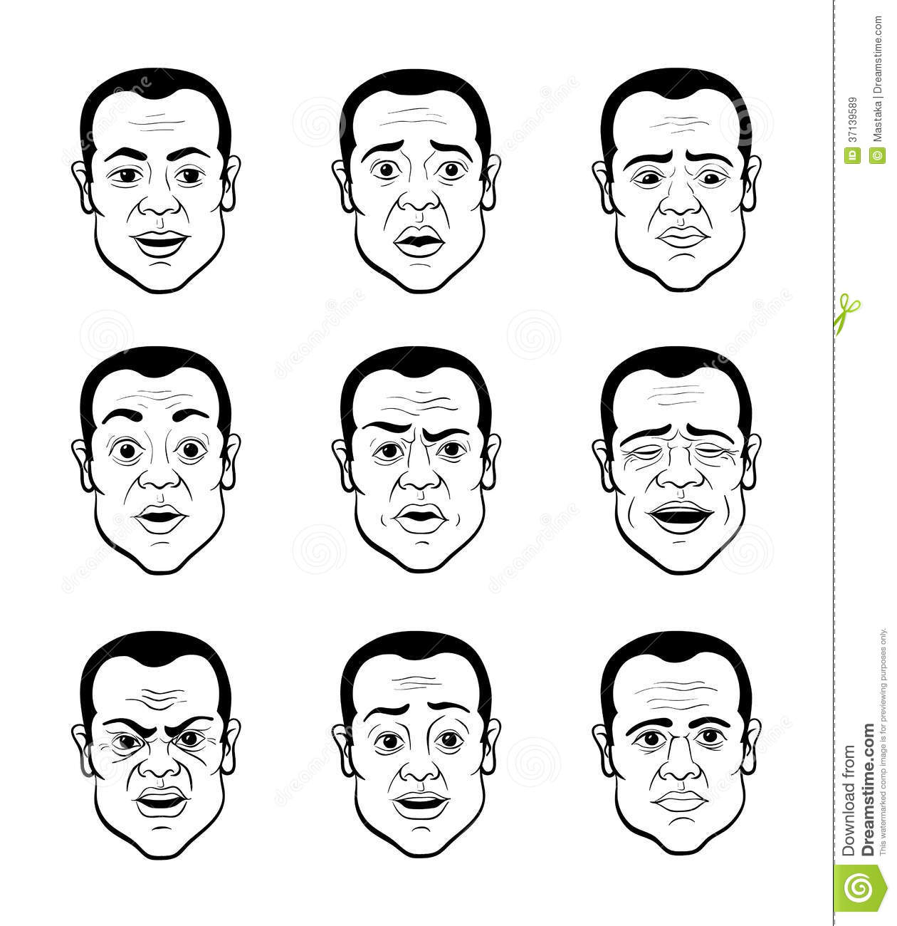 Emotional Lines In Art : Cartooning faces of the man royalty free stock images