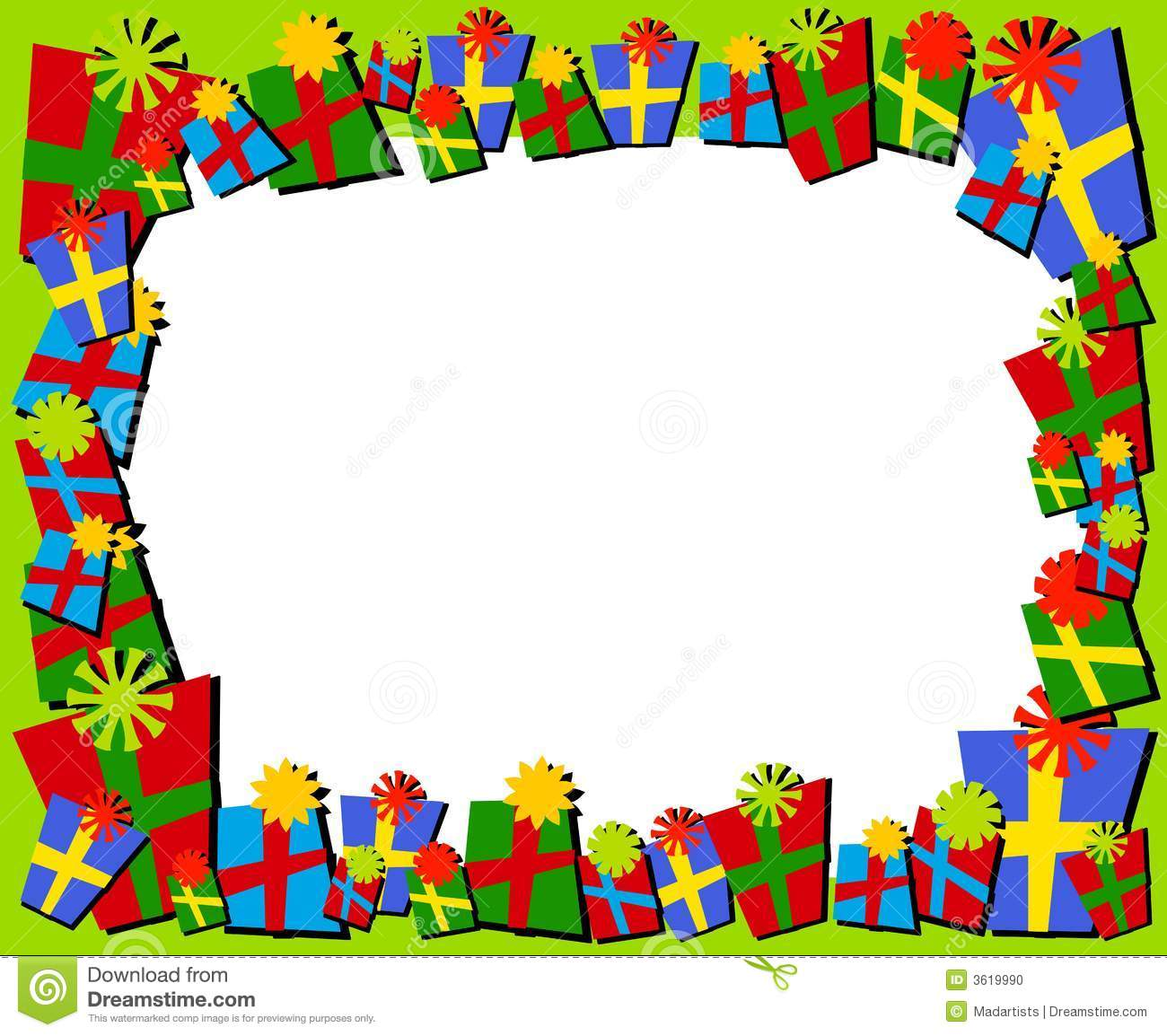 Christmas Toys Border : Cartoonish christmas gifts border or frame stock
