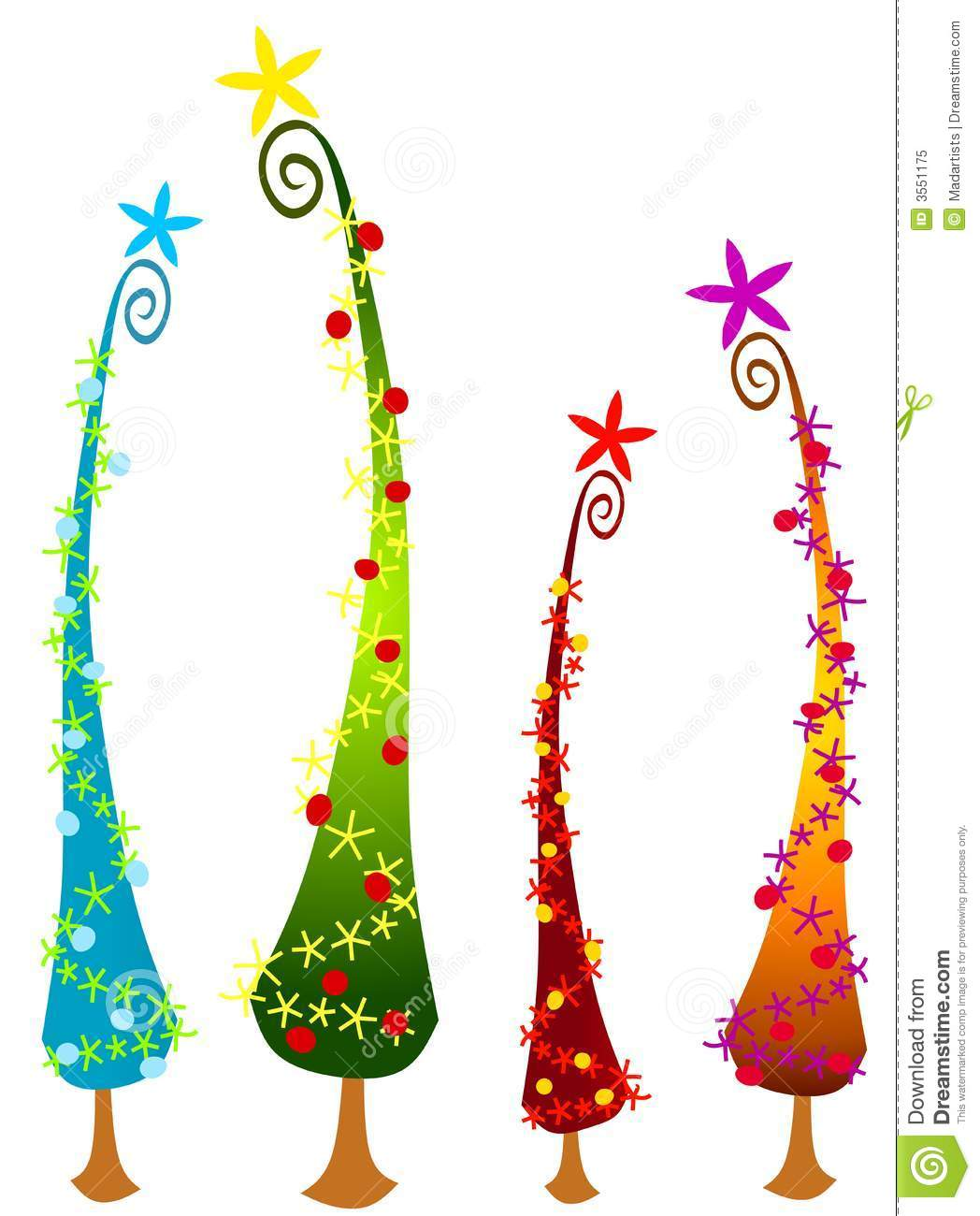 An abstract clip art illustration of tall cartoonish Christmas trees ...