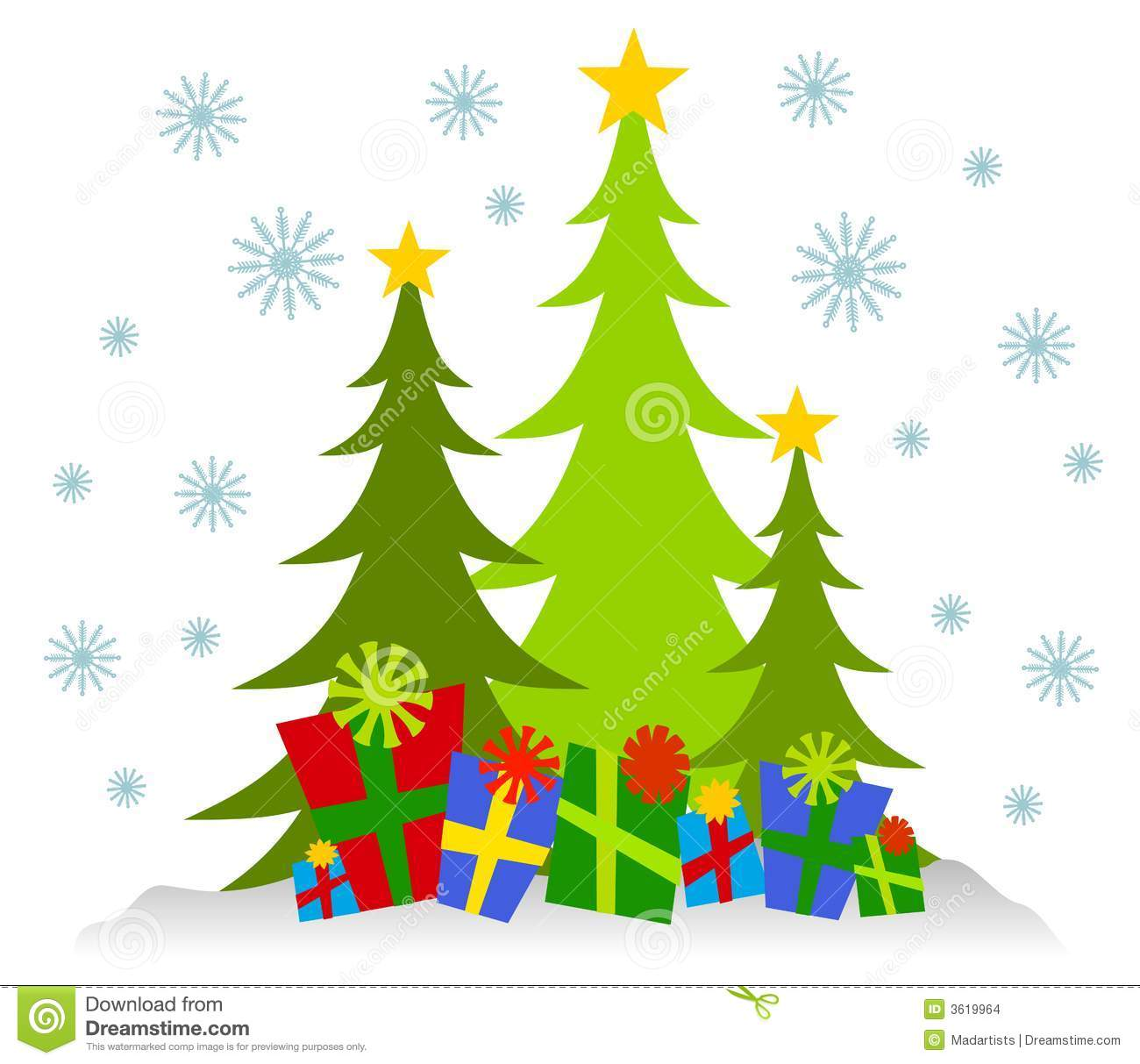 cartoonish christmas trees and presents stock illustration rh dreamstime com christmas nativity scene clipart christmas scenes clipart