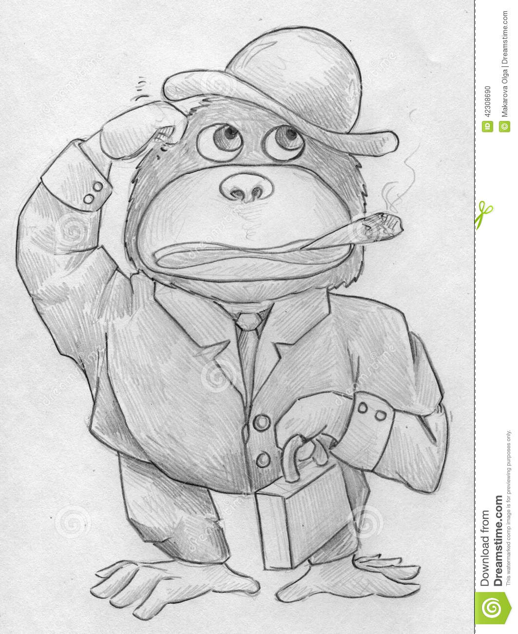 Hand drawn pencil sketch of a cartoonish gorilla wearing hat jacket and pants holding a little case in its left arm and smoking a cigar